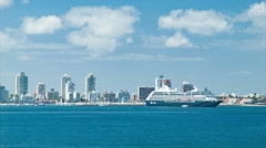 Panning Across Punta del Este City Skyline with Cruise Ship Stock Footage