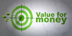 Stock Illustration of Banking concept: target and Value For Money on wall background