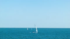 Sailboats in the Atlantic Ocean near Punta del Este Uruguay - stock footage