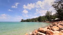 Koh Phangan. Mae Head Beach at Phangan Island. View of Koh Ma. - stock footage