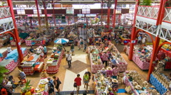 Municipal Market Interior Scene in Papeete Tahiti with People Buying Stock Footage