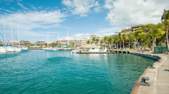 Papeete Tahiti City Marina with Boats and Yachts Stock Footage