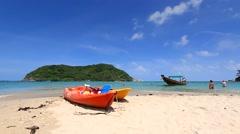 Koh Phangan. Mae Head Beach at Phangan Island. Kayaking near Koh Ma. Stock Footage