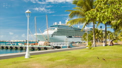 Generic Cruise Ship Docked in Papeete Tahiti French Polynesia Stock Footage
