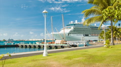Celebrity Solstice Cruise Ship Docked in Papeete Tahiti French Polynesia - stock footage