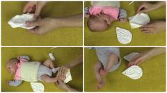 Hands make newborn baby footprint footmark palm mark. Collage. Stock Footage