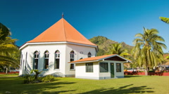 Local Church in Papetoai on the Island of Moorea Stock Footage