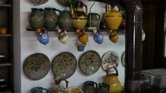 Etar Bulgaria - the master makes pottery souvenirs for tourists Stock Footage