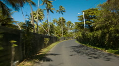 Bora Bora Driving on Main Island Road POV Stock Footage