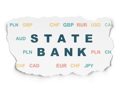 Currency concept: State Bank on Torn Paper background Piirros