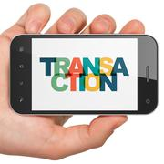 Stock Illustration of Banking concept: Hand Holding Smartphone with Transaction on  display