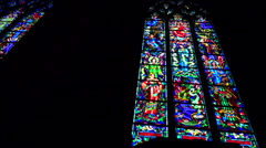 Stained glass windows in a french church - low angle, panoramic shot 1 Stock Footage