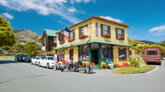 Akaroa NZ Quaint Town Local Retail Shops Stock Footage