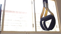 Suspension Fitness Training Straps & Handle Gym Gear Sunlight Window Stock Footage