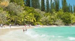 Isle of Pine Waves Breaking on Tropical Beach Stock Footage