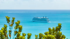 Cruise Ship Anchored at Isle of Pine New Caledonia Stock Footage