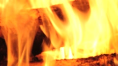 Wood burns in a fireplace in Saariselka, Finland. - stock footage