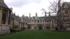 Cambridge University England courtyard garden pan 4K Stock Footage