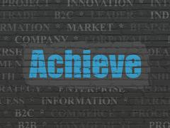 Business concept: Achieve on wall background Stock Illustration
