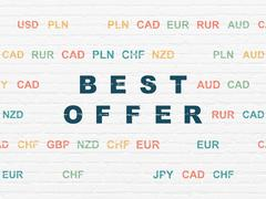 Business concept: Best Offer on wall background - stock illustration