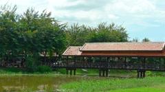 Ornate pedestrian bridge crossing a canal in Siem Reap. FullHD video Stock Footage