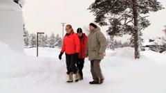 People enter to the ice chapel in Saariselka, Finland. Stock Footage