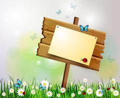 advertisement wooden board on a loan - stock illustration