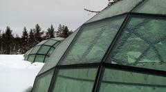 Original hotel rooms built like glass igloos in Saariselka, Finland. Stock Footage