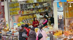 Local shop selling preserved foods. FullHD video Stock Footage