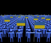 Crowd of abstract people with many Ukraine flags illustration Stock Illustration