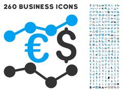 Financial Trends Icon with Flat Vector Set - stock illustration