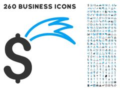 Fortune Falling Dollar Icon with Flat Vector Set - stock illustration