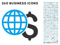 Global Finances Icon with Flat Vector Set Stock Illustration
