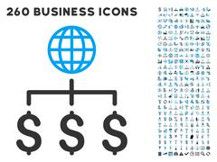 Global Payments Icon with Flat Vector Set Stock Illustration