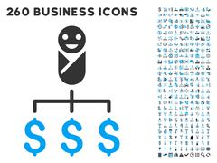 Kid Expenses Icon with Flat Vector Set Stock Illustration