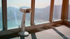 Windows of Sky 100 observation deck, looking out over Hong Kong Stock Footage