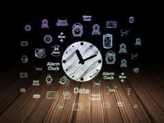 Time concept: Clock in grunge dark room - stock illustration