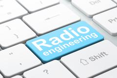 Science concept: Radio Engineering on computer keyboard background - stock illustration