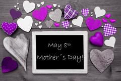 Black And White Chalkbord, Purple Hearts, Mothers Day - stock photo