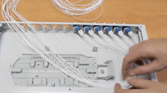 man working ODF fiber optic - stock footage