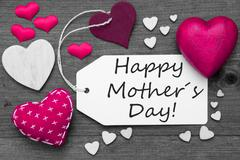 Black And White Label, Pink Hearts, Text Happy Mothers Day - stock photo