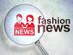 News concept: Anchorman and Fashion News with optical glass Stock Illustration