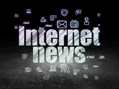 News concept: Internet News in grunge dark room - stock illustration