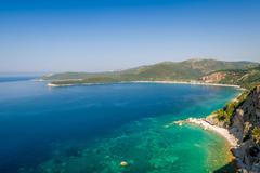 Adriatic turquoise sea shore landscape Stock Photos