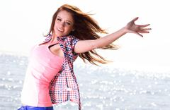 Woman happy smiling joyful Beautiful young cheerful Caucasian female model - stock photo