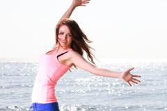 Woman happy smiling joyful Beautiful young cheerful Caucasian female model Stock Photos