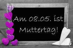 Black And White Blackbord, Purple Hearts, Muttertag Means Mothers Day Stock Photos