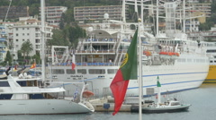Flag of Portugal waving in Lympia Port, Nice - stock footage