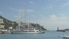 View of yachts moored in Port Lympia, Nice - stock footage