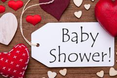 One Label, Red Hearts, Baby Shower, Macro Stock Photos